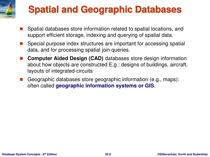 Spatial databases store information related to spatial locations, and support efficient storage, indexing and querying of spatial data.