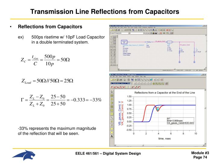 Transmission Line Reflections from Capacitors