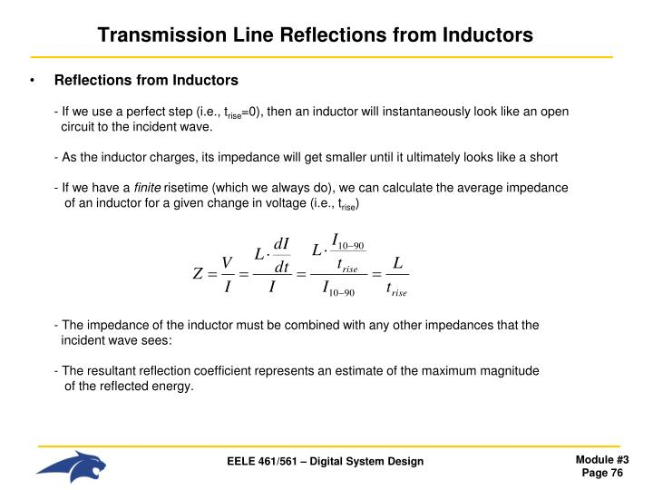 Transmission Line Reflections from Inductors