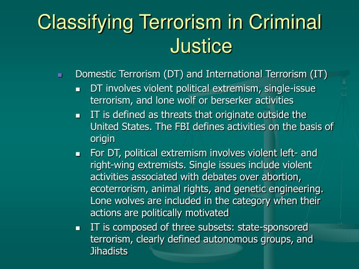 domestic terrorism thesis Terrorism 1 running head: terrorism: domestic, international, and cyber terrorism: domestic, international, and cyber terrorism 2 abstract terrorism is one of the most remembered and feared occurrences in the world.