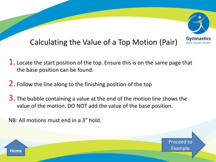 Calculating the Value of a Top Motion (Pair)