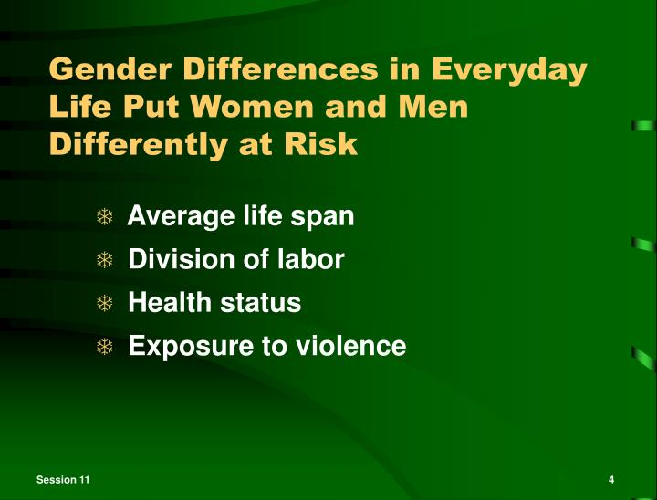 Gender Differences in Everyday Life Put Women and Men Differently at Risk