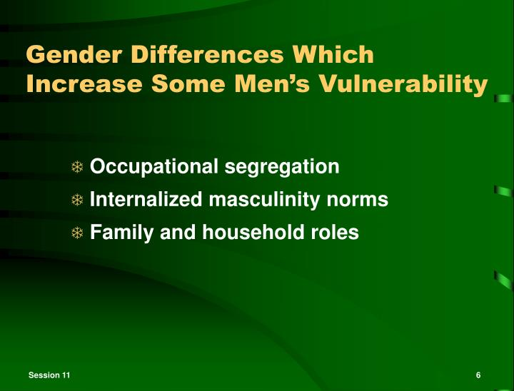 Gender Differences Which Increase Some Men's Vulnerability
