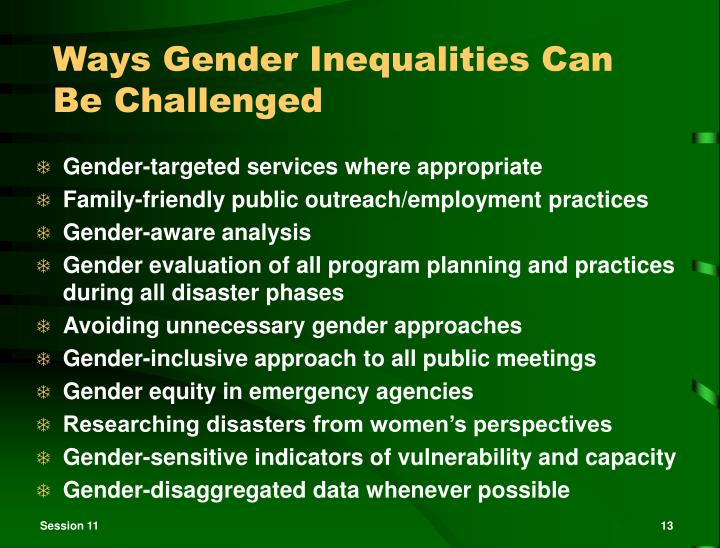 Ways Gender Inequalities Can Be Challenged