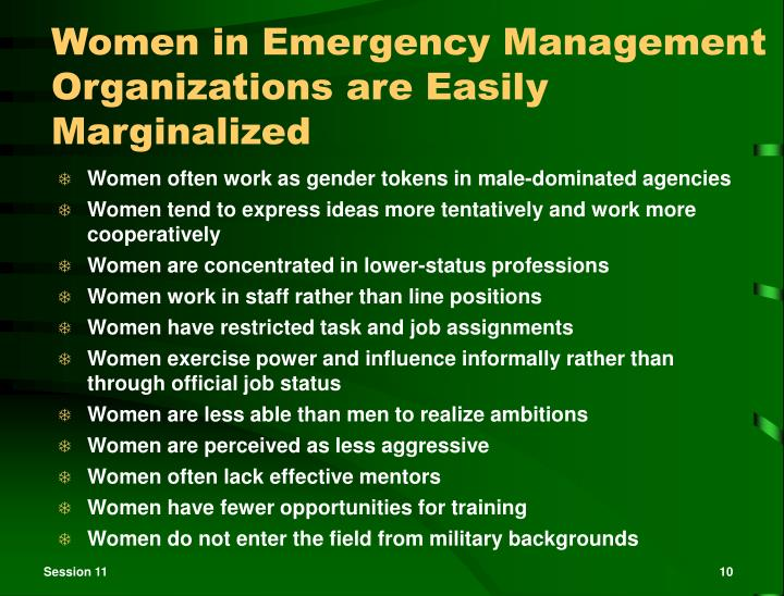 Women in Emergency Management Organizations are Easily Marginalized