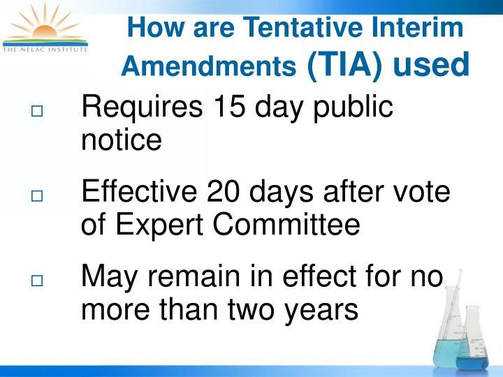 How are Tentative Interim Amendments