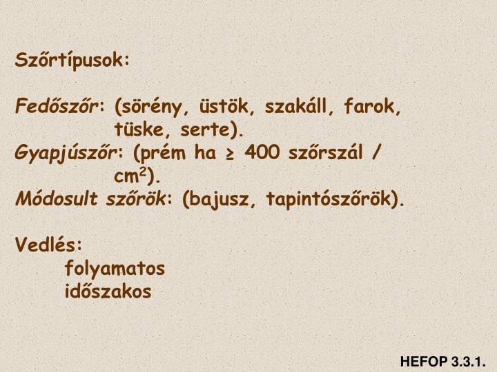 Szőrtípusok: