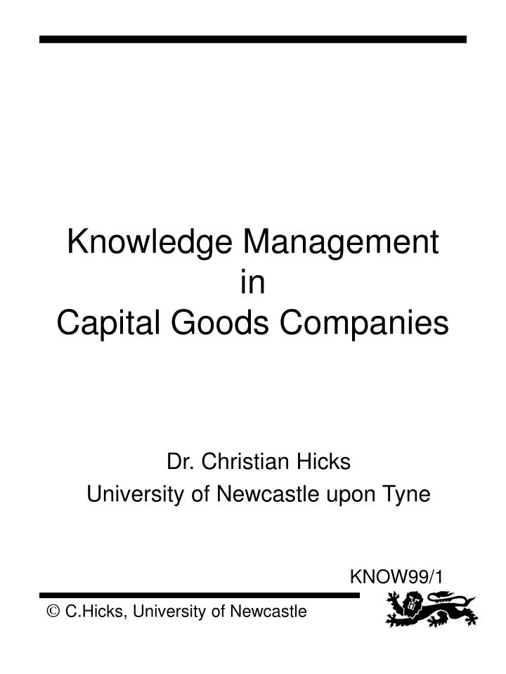 knowledge management in capital goods companies n.