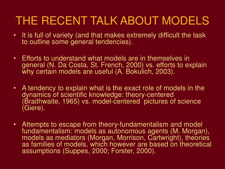 THE RECENT TALK ABOUT MODELS