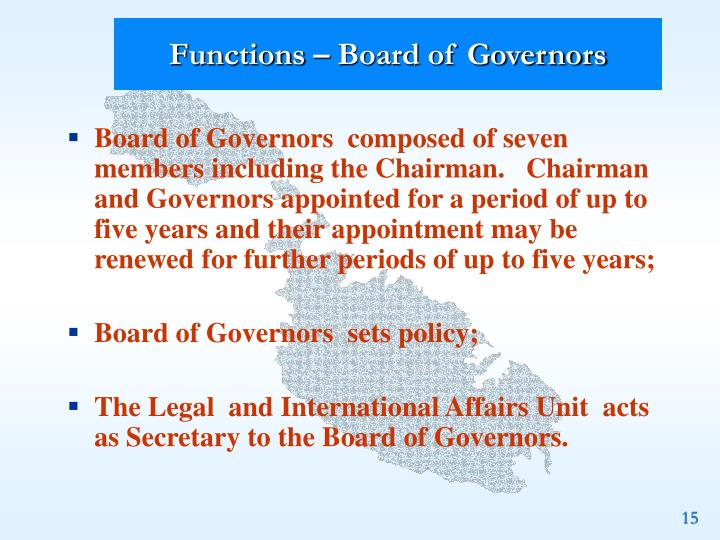 Functions – Board of Governors