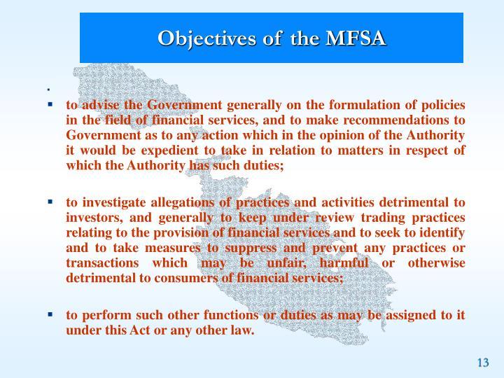 Objectives of the MFSA