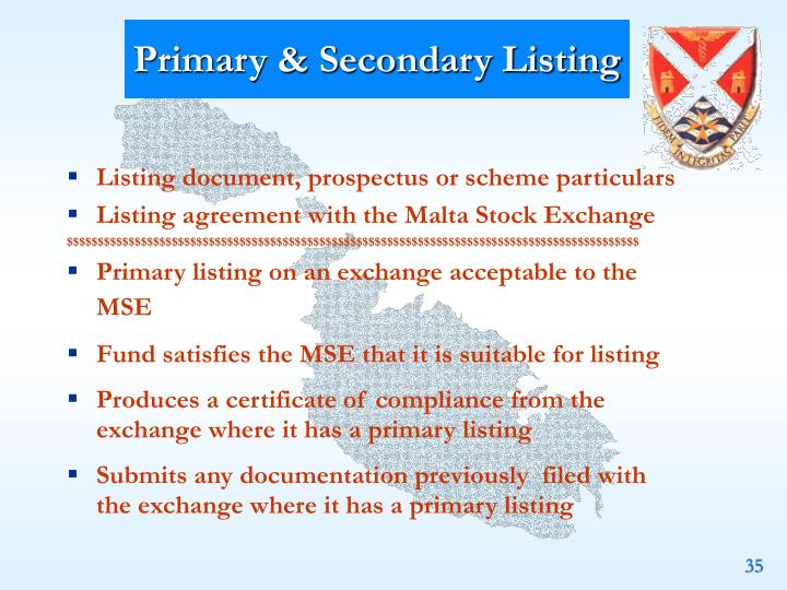 Primary & Secondary Listing