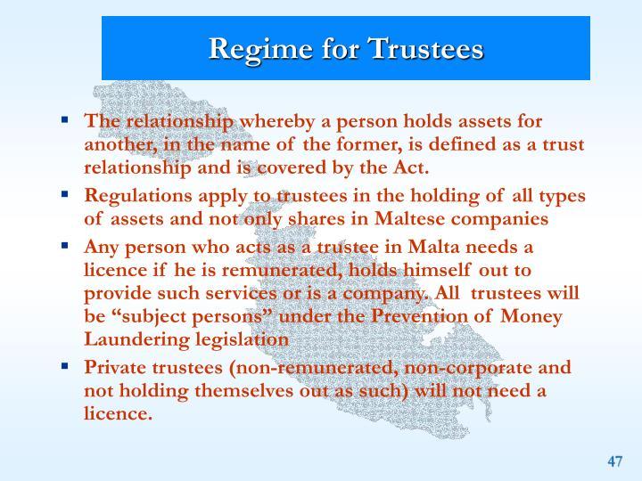 Regime for Trustees