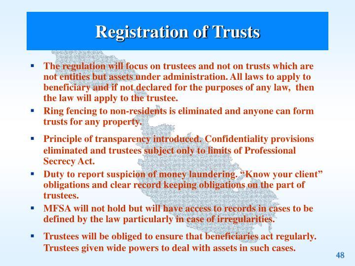 Registration of Trusts