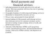 retail payments and financial services
