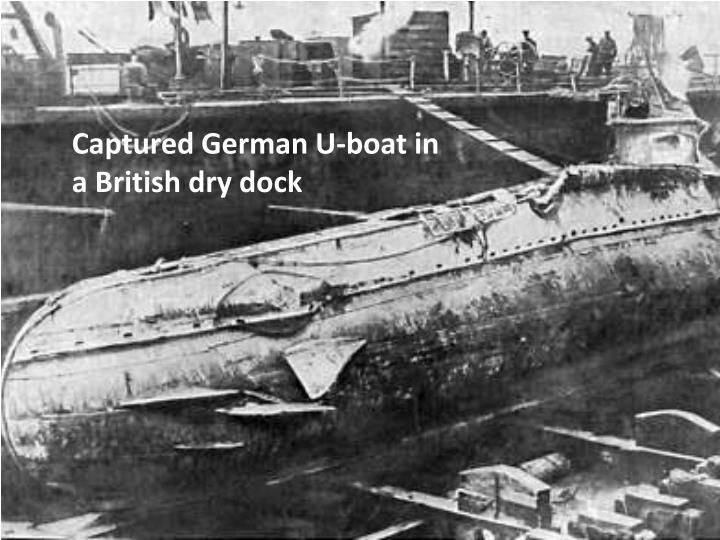 Captured German U-boat in a British dry dock