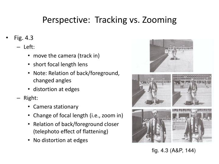 Perspective:  Tracking vs. Zooming