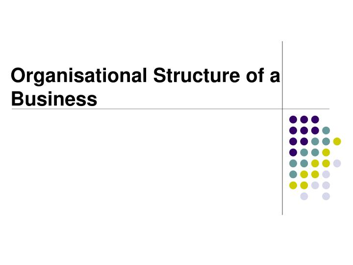 organisational structure of a business n.