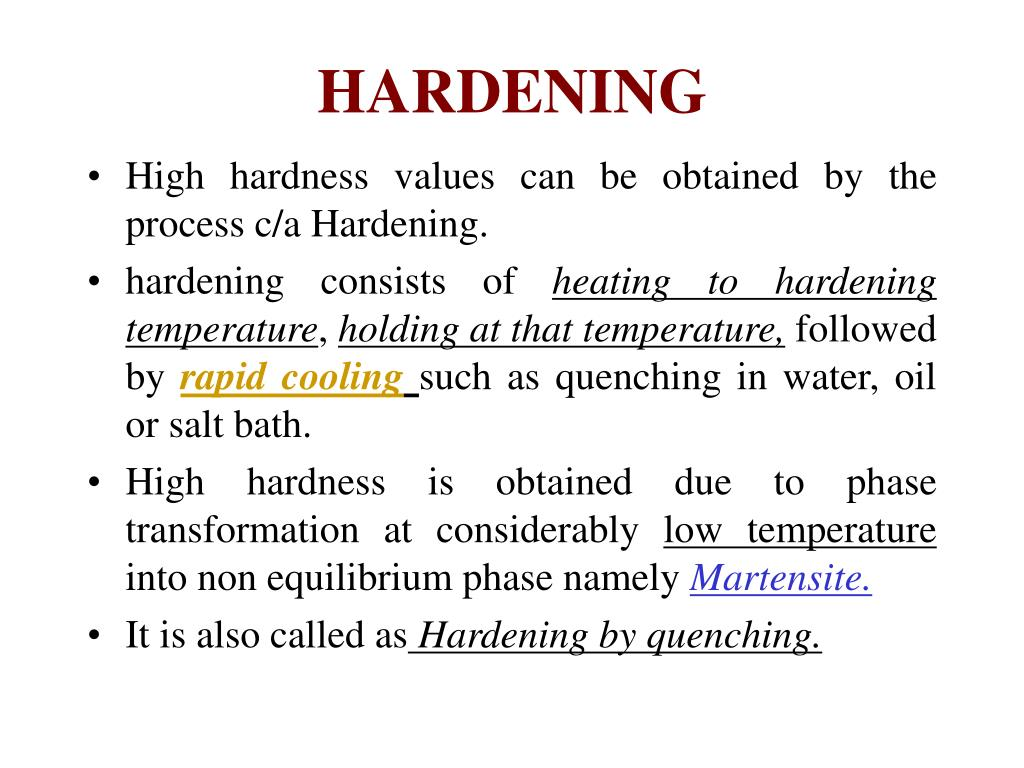Hardening by water procedures