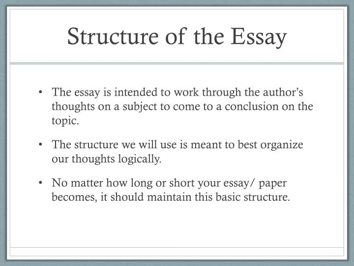 Healthy Lifestyle Essay Structure Of The Essay How To Write A Thesis Paragraph For An Essay also Synthesis Essay Topics Ppt  The Structure Of The Essay Powerpoint Presentation  Id English Argument Essay Topics