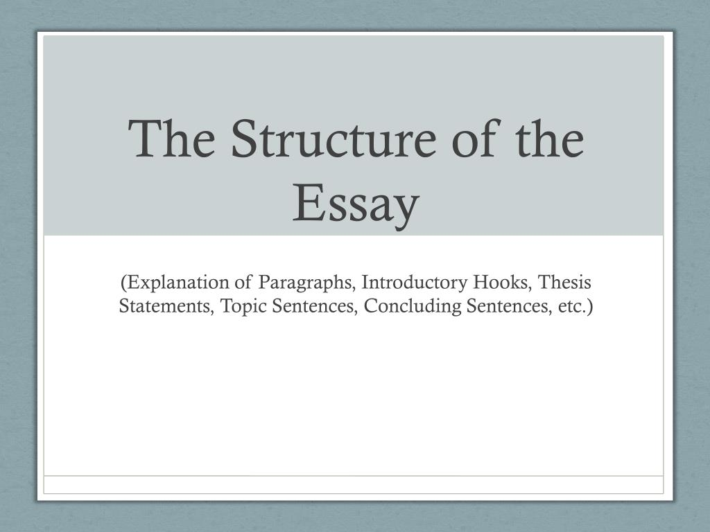 Essays On Importance Of English The Structure Of The Essay N Extended Essay Topics English also Science Development Essay Ppt  The Structure Of The Essay Powerpoint Presentation  Id English Essays For Students