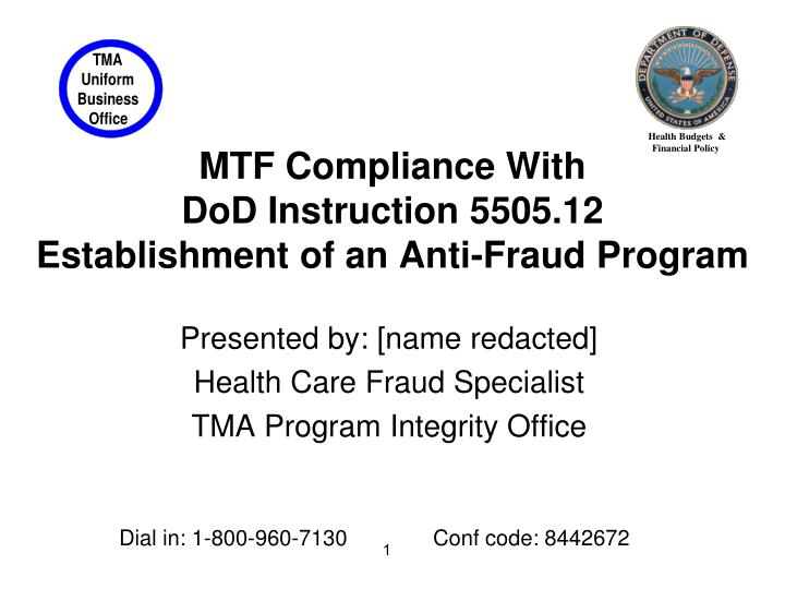 Ppt Mtf Compliance With Dod Instruction 550512 Establishment Of