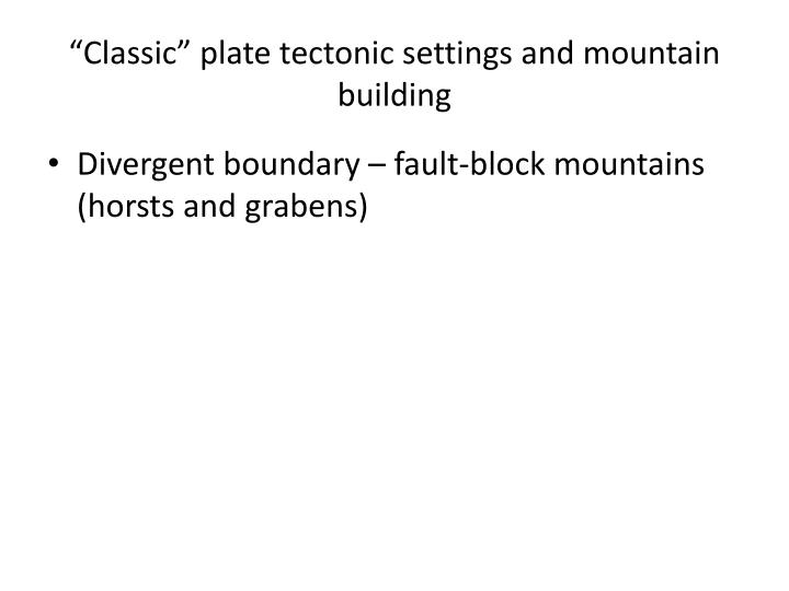 classic plate tectonic settings and mountain building n.