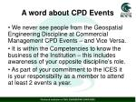 a word about cpd events