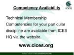 competency availability