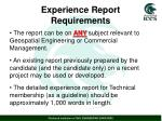 experience report requirements