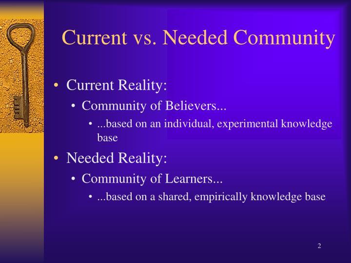 Current vs needed community