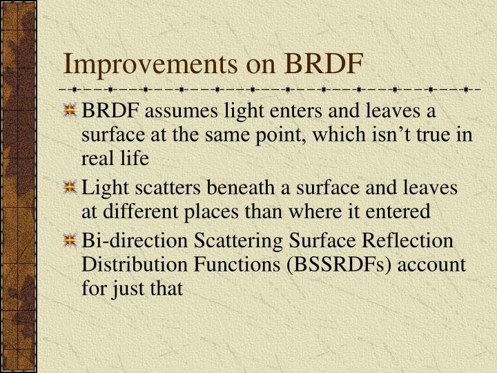 Improvements on BRDF
