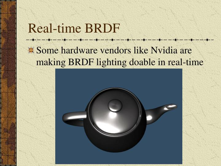 Real-time BRDF