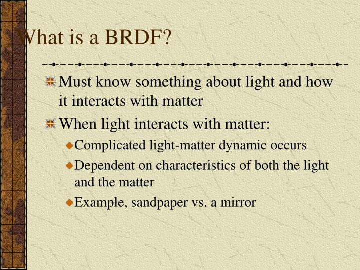What is a brdf