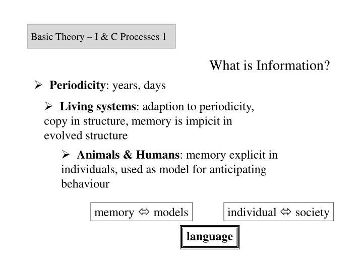 Basic Theory – I & C Processes 1