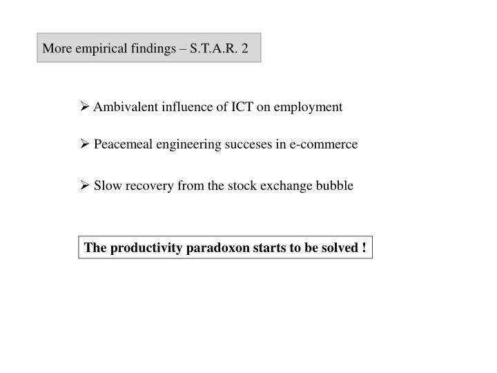 More empirical findings – S.T.A.R. 2
