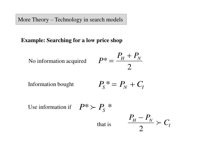 More Theory – Technology in search models