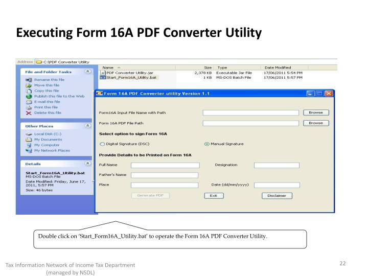 Executing Form 16A PDF Converter Utility