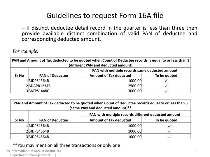 Guidelines to request Form 16A file