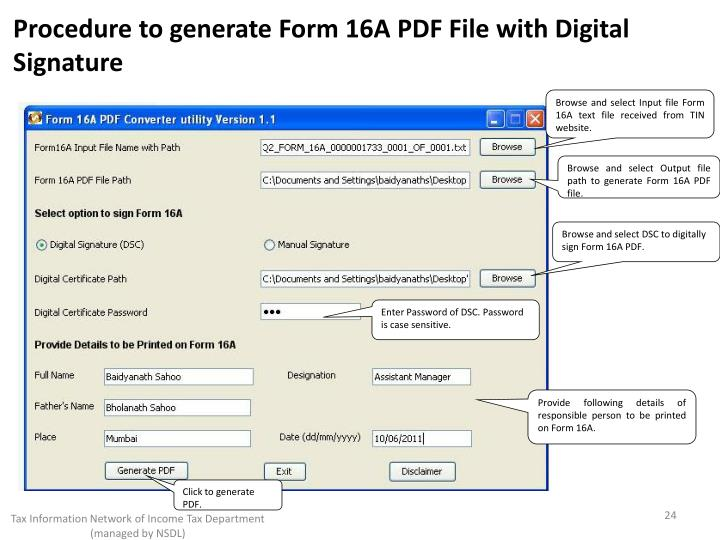 Procedure to generate Form 16A PDF File with Digital Signature