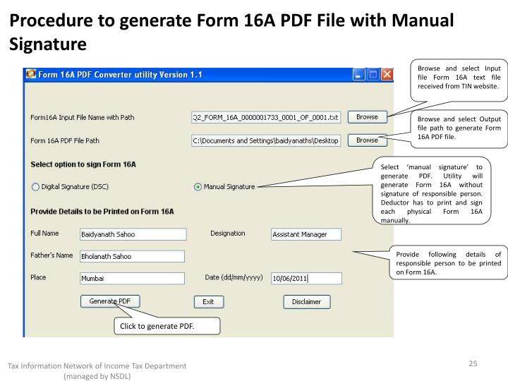 Procedure to generate Form 16A PDF File with Manual Signature