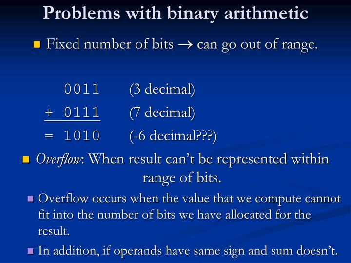 Problems with binary arithmetic