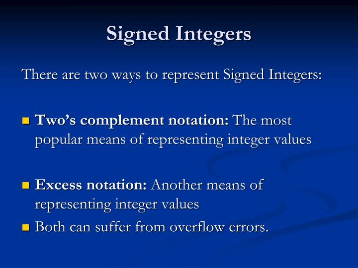 Signed Integers