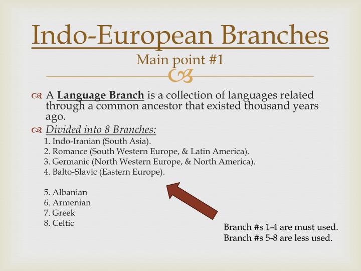 Indo european branches main point 1