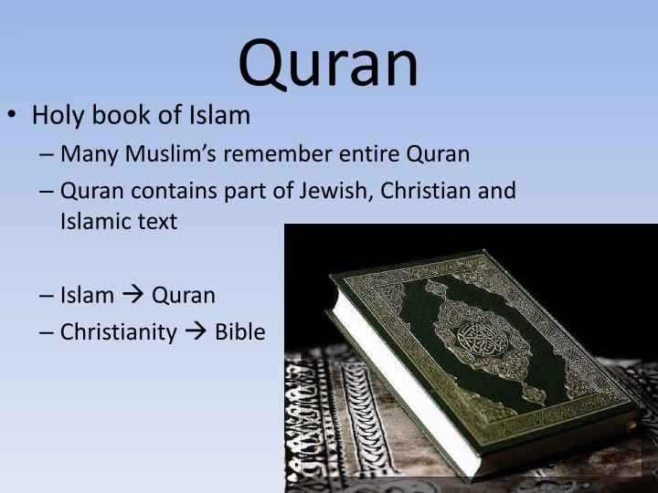 the quran the holy text of islam The sacred text of islam is called the qur'an - c this is the correct answer, the other texts you're referring to are from the christian faith (the bible), the five pillars don't repesent a religious text but rather represent an importnat aspect of islam.