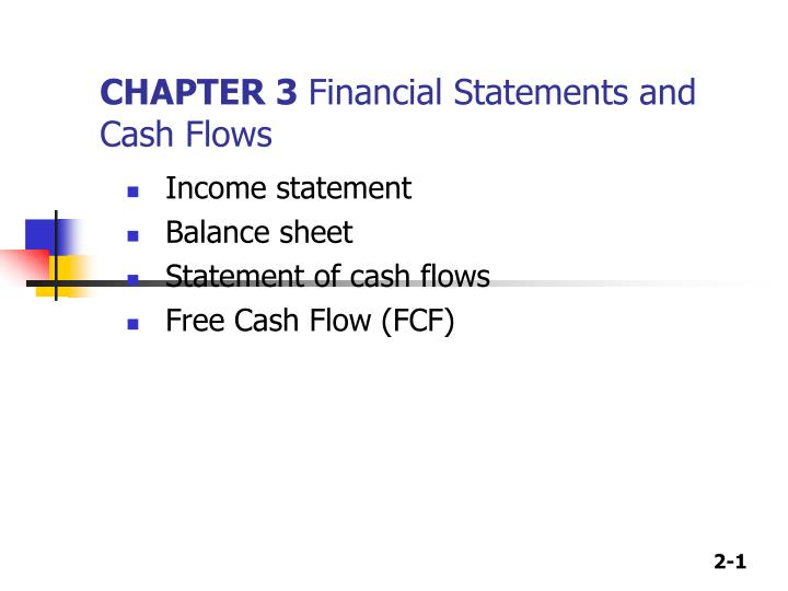 chapter 3 financial statements and cash flows n.