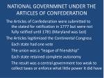 national governmnet under the articles of confederation