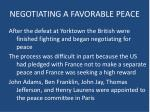 negotiating a favorable peace