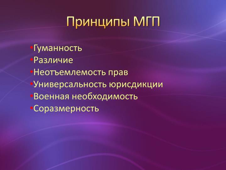 Принципы МГП