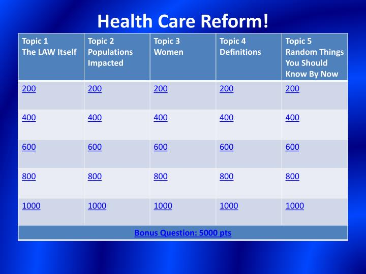 Health care reform